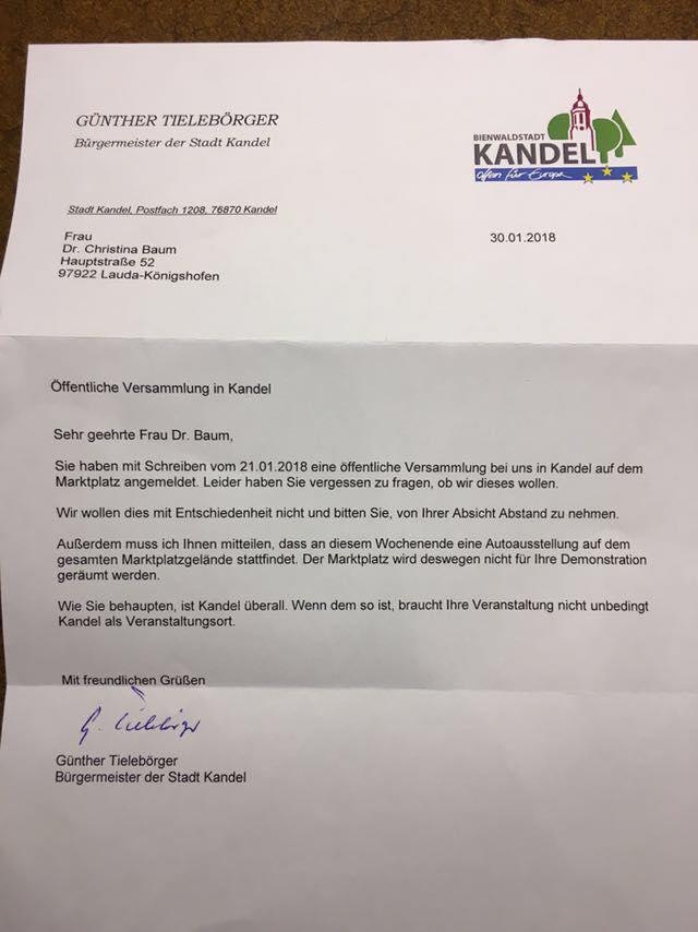 Der Bürgermeister Von Kandel Schreibt Einen Unverschämten Brief